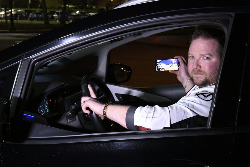 Uber and Lyft driver Terry Tooley is shown at the location on Nott Street where he took video of a bear early Tuesday.