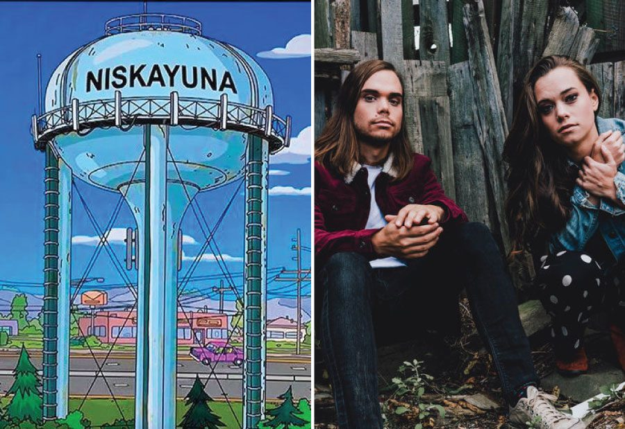 """Left: The """"Niskayuna"""" water tower on Sunday's 'Simpsons'; Right: Jocelyn and Chris Arndt"""