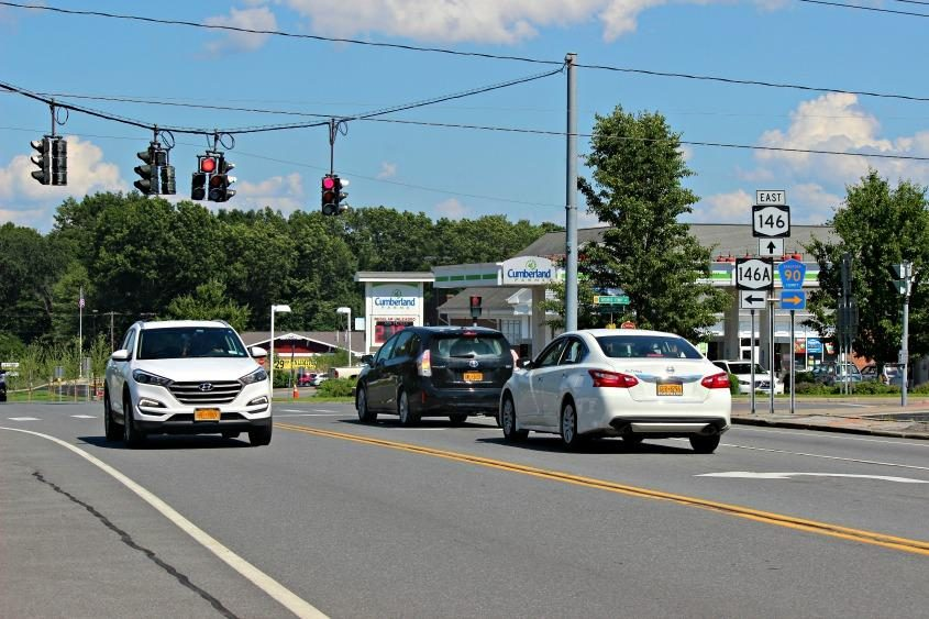 Traffic flows through the intersection of routes 146 and 146A in Clifton Park on July 2, 2018.