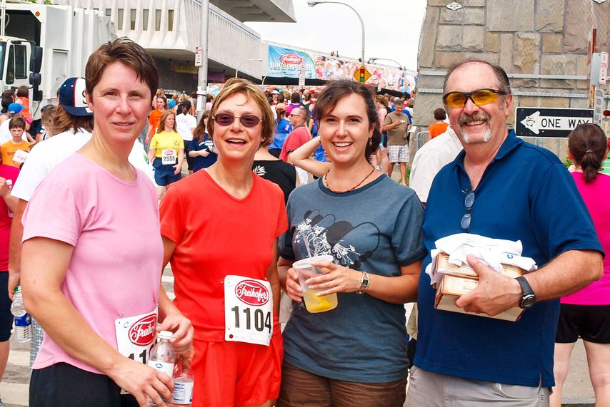 The Yasenchak family, from left to right, Tara, Kathy, Tonya and George, after an edition of the Freihofer's Run for Women.