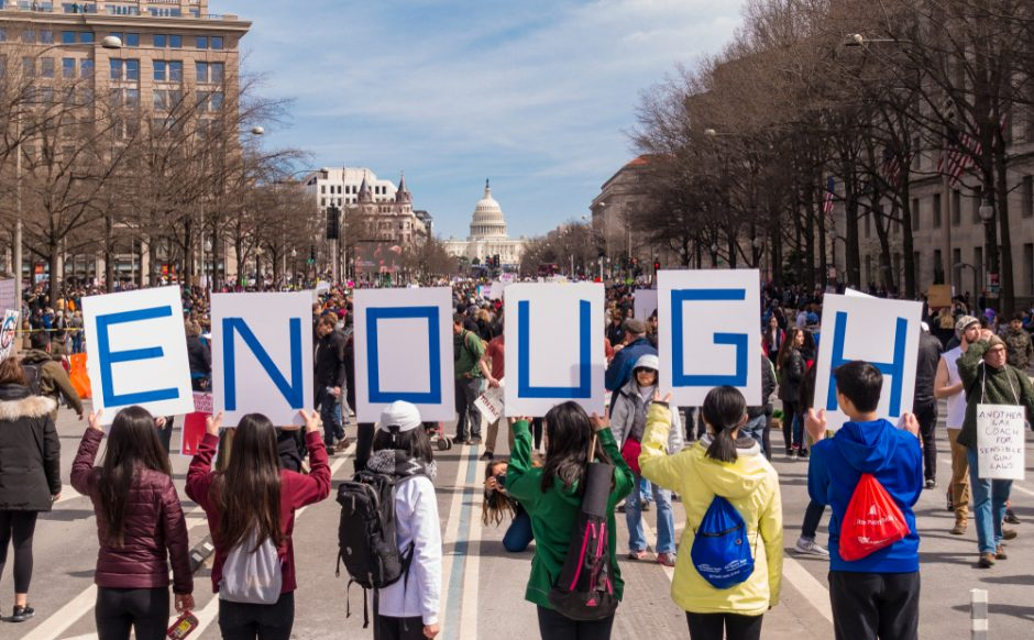 March for Our Lives demonstration, protesting gun violence, in Washington, D.C. on March 24, 2018.
