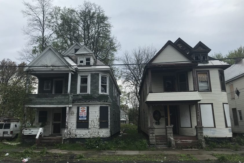 Houses located at 410 and 412 Schenectady St. in Hamilton Hill are among those scheduled for demolition this summer.