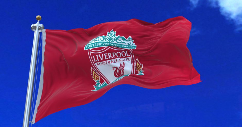 Liverpool F.C. flag waving on June 7, 2018 in Liverpool, England.