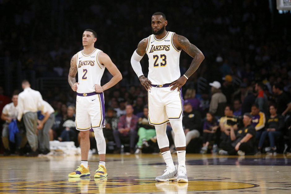 The Los Angeles Lakers' Lonzo Ball (2) and LeBron James (23) during a game on November 25, 2018, in Los Angeles.