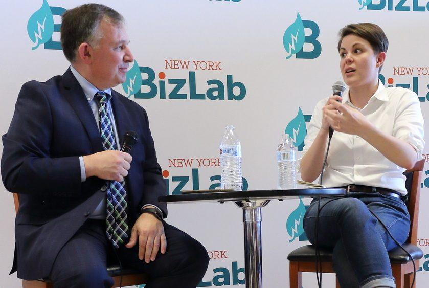 Troy restaurateur Heidi Knoblauch speaks with New York BizLab Managing Director Rick D'errico during a BizLab-Clarkson event.