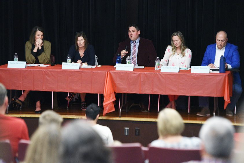 Niskayuna school board candidate Jonathan Vaillancourt speaks during a forum held at the Little Theatre at Niskayuna High School