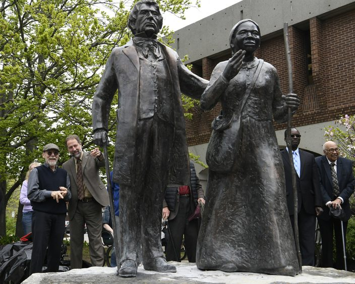 A statue of  Harriet Tubman and William Seward is unveiled on Clinton Street in Schenectady.