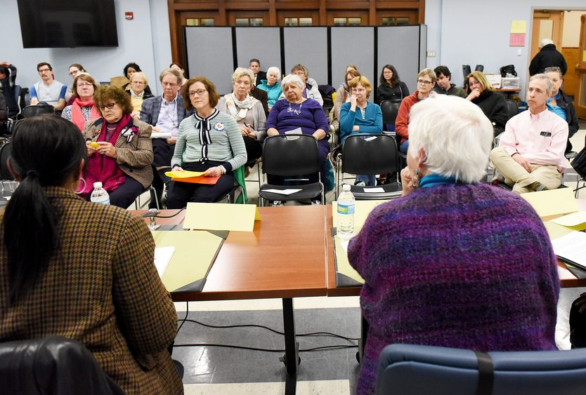 Schenectady school board candidates answer questions during a forum on Monday.