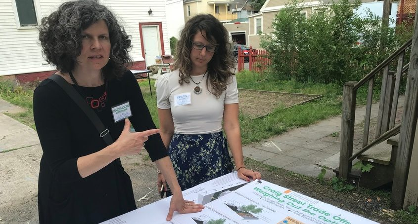 Mary Moore Wallinger and Kristin Diotte review streetscape plans Wednesday