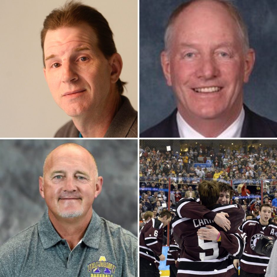 Clockwise, Jim Schiltz, Paul Wehrum, Union hockey 2014 and Jon Mueller are on the latest Parting Schotts.