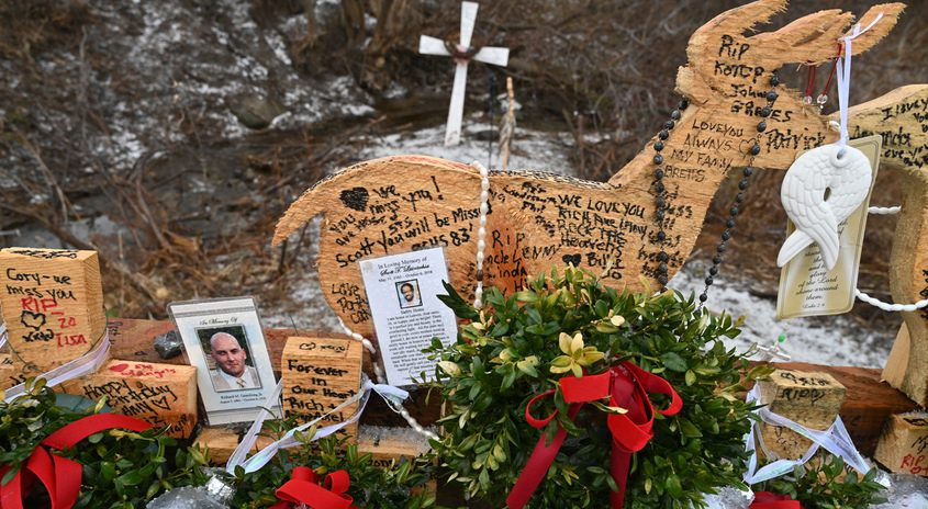 The Schoharie limo crash memorial as seen in December
