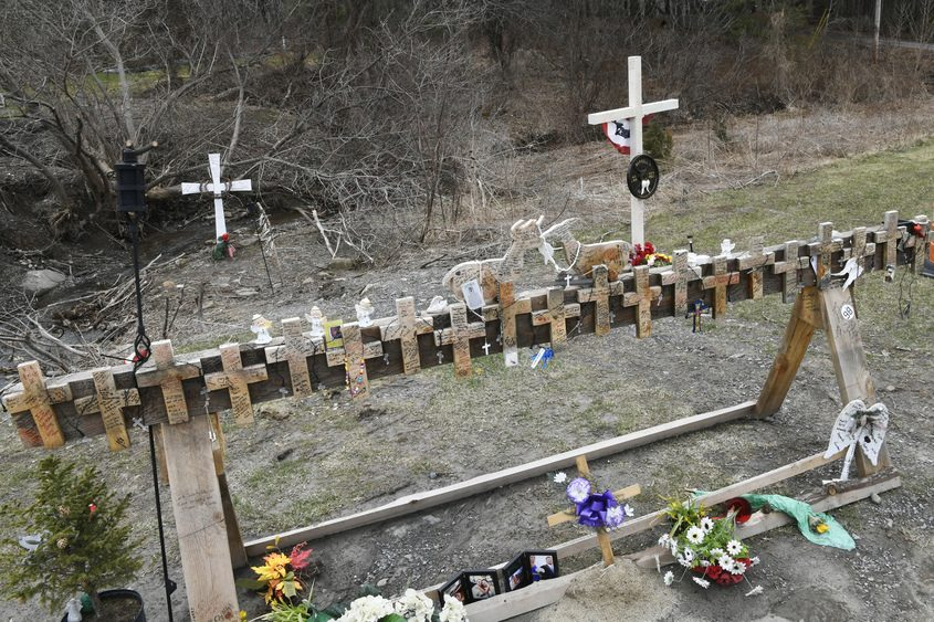 A temporary memorial at the crash site seen in April