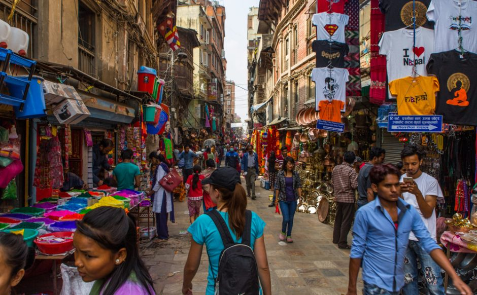 Crowded shopping street in Thamel district of Kathmandu, Nepal in 2018.