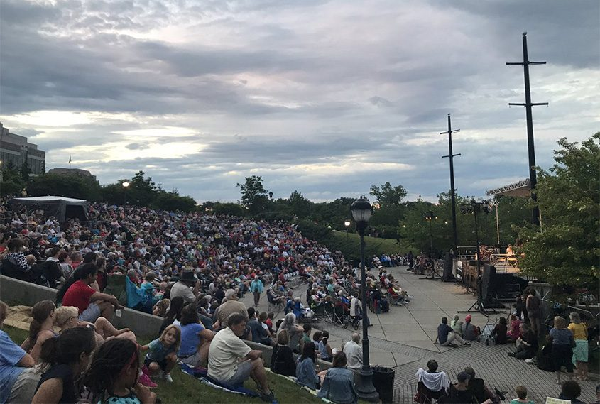 The Albany Symphony Orchestra performs at Jennings Landing on the Hudson River in downtown Albany in 2017..