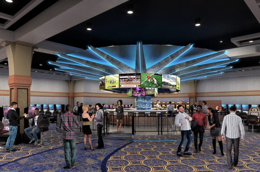 A rendering of the sports bar being constructed at Saratoga Casino Hotel.