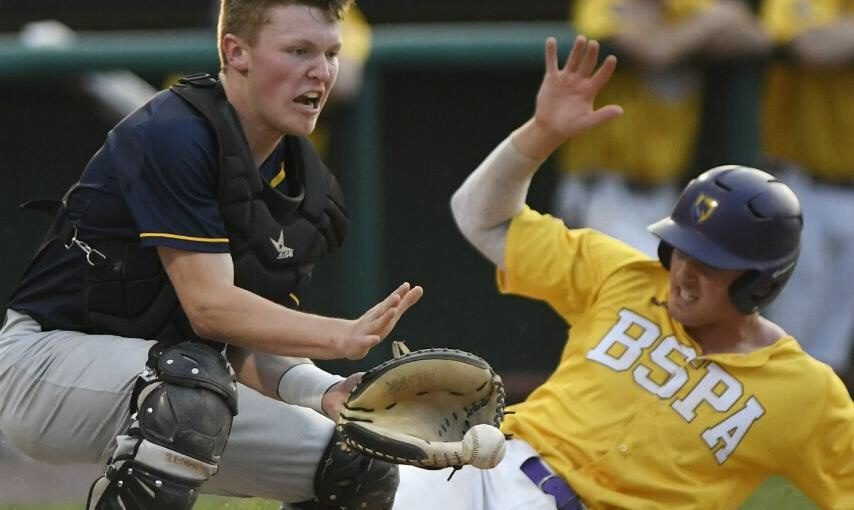 Luke Gold scores Ballston Spa's first run on a sacrifice fly in Saturday's Class AA title game.