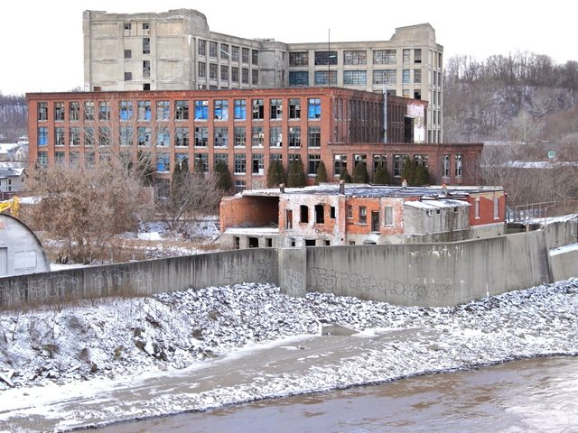 The derelict Chalmers mill complex is shown in December 2010, several months before its demolition.