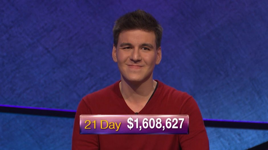 "James Holzhauer is shown earlier in his ""Jeopardy!"" winning run."