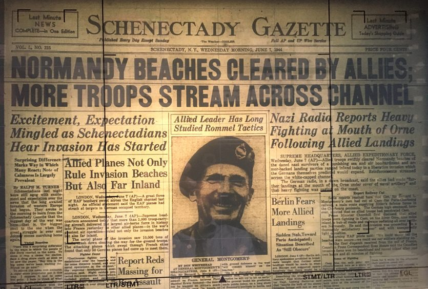The Schenectady Gazette of June 7, 1944 was full of stories and photos on the D-Day invasion.