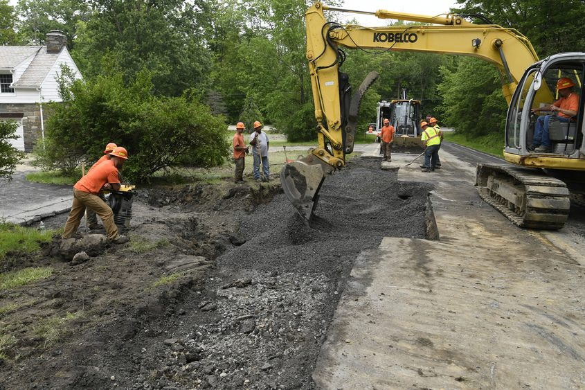Niskayuna Water Department workers repaired a 20-inch water main in front of 1189 Mohawk Ave. after it ruptured Wednesday.