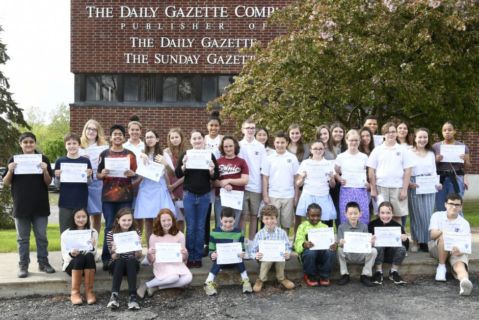 The winners of the 2019 Student Gazette gather for a picture in front of the Daily Gazette building in Schenectady.