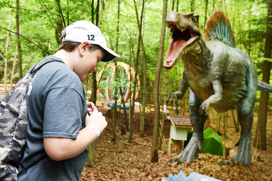 12-year-old Bryce Fifield of South Glens Falls walks through Dino Roar Valley at the Lake George Expedition Park, June 2, 2019.