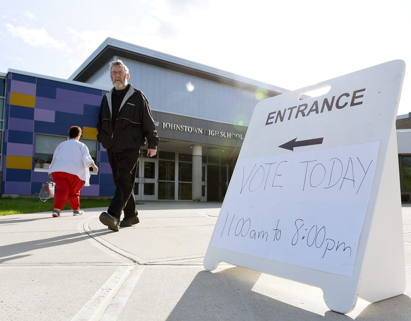 Residents arrive to vote at Johnstown High School on May 21.