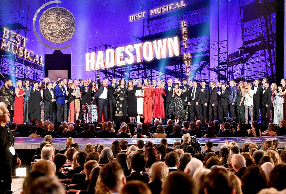 """The cast and crew of """"Hadestown"""" accept the award for Best Musical onstage during the 2019 Tony Awards at Radio City Music Hall."""