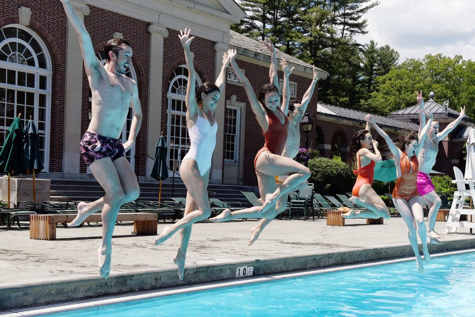 New York City Ballet dancers are filmed at Victoria Pool in Saratoga Spa State Park on Friday.