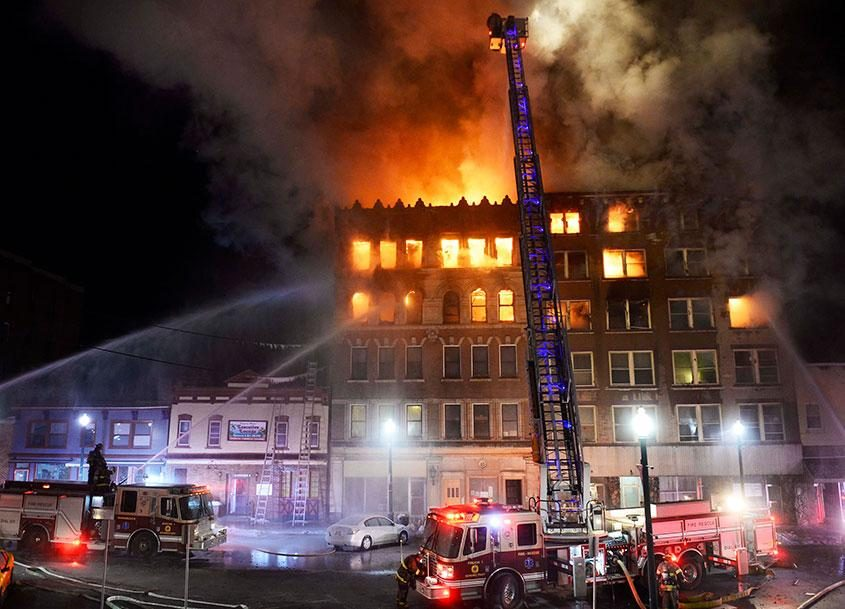 100-104 Jay Street at 3:10 a.m, just past the 1-hour mark into the fire, Friday, March 6, 2015.