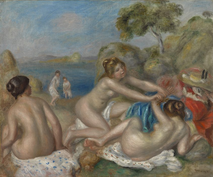 """""""Bathers Playing with a Crab,"""" c. 1897, oil on fabric, by Pierre-Auguste Renoir. Copyright The Cleveland Museum of Art."""