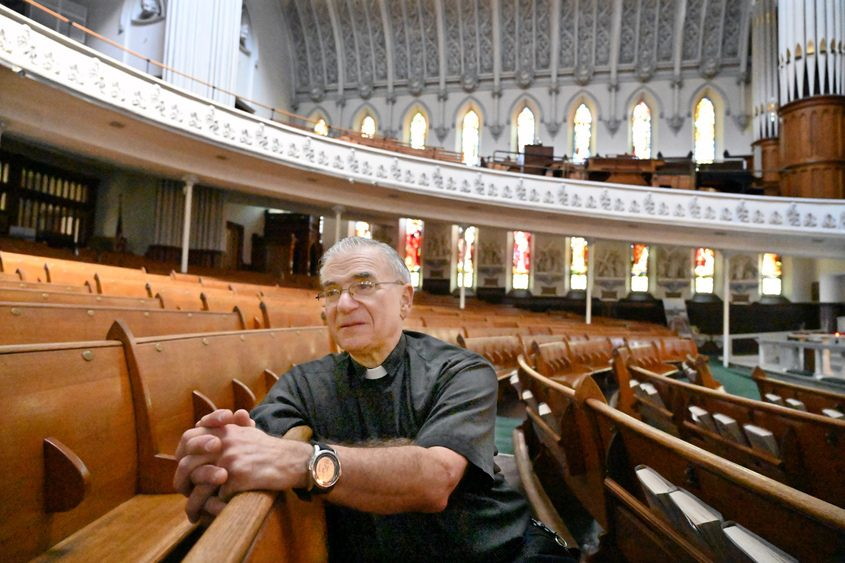 Reverend Richard Carlino talks about his 40 years as an ordained Roman Catholic priest in St. John the Evangelist Church.