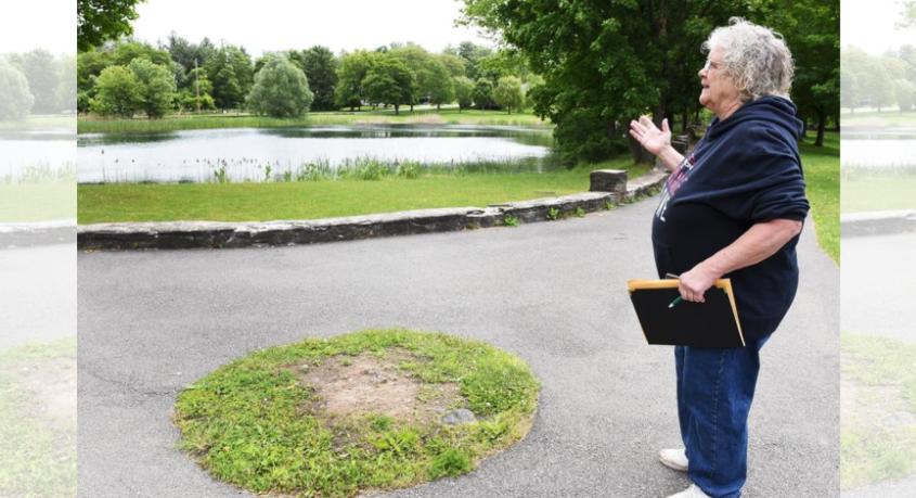 Camille Sasinowski shows where the veterans memorial will be located in Steinmetz Park in Schenectady.