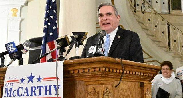 Schenectady Mayor Gary McCarthy announces that he's running for a third term in City Hall on April 9.