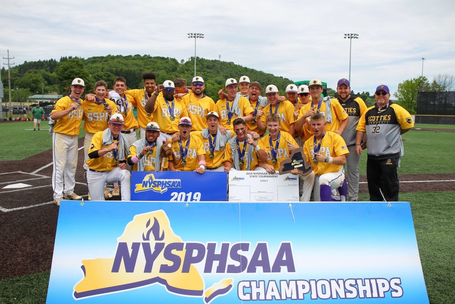 Ballston Spa celebrates its New York State Class A baseball championship after defeating Maine-Endwell 13-6 on Saturday.