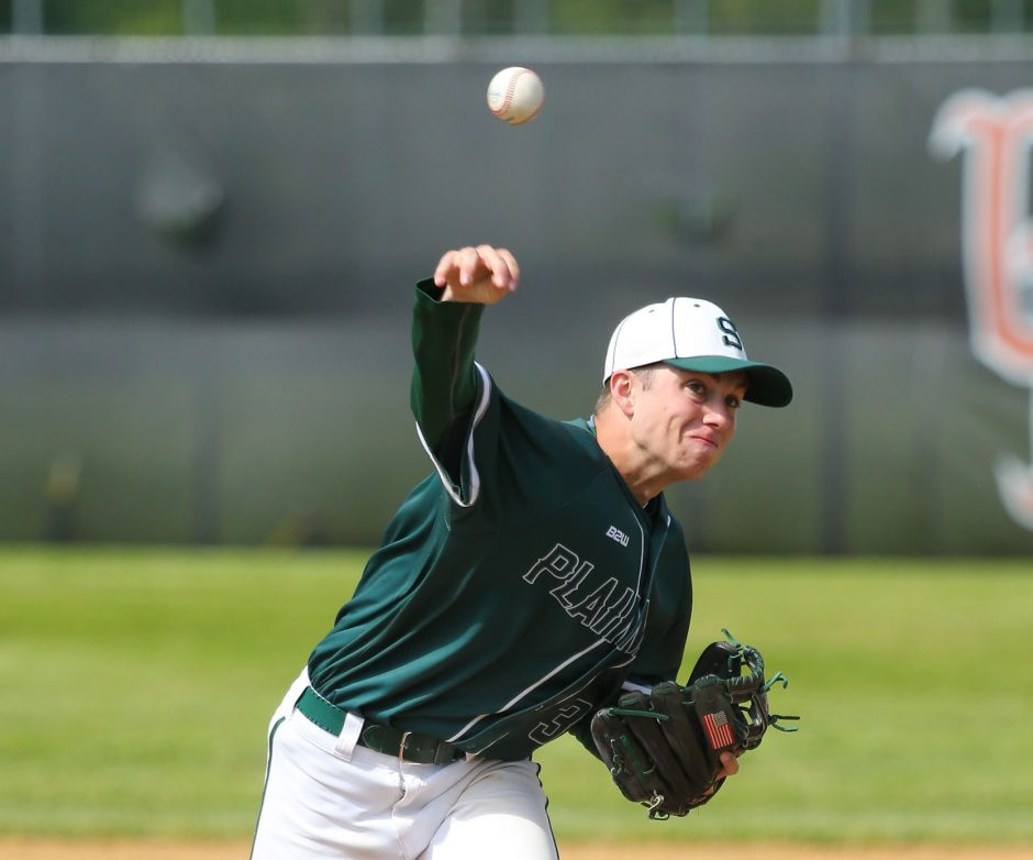 Shenendehowa pitcher Evan Jones makes a delivery to the plate during Saturday's New York State Class AA baseball title game.