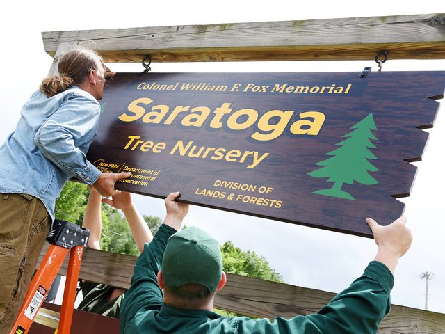 Bill O'Donovan, Jerry Helm and Tom Williams of DEC hang the new sign for the renamed tree nursery on Friday.
