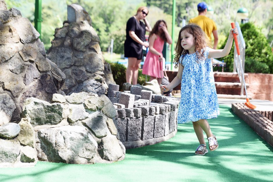 4-year-old Avery Picca of Queensbury plays a round of mini-golf at Around The World in Lake George on Sunday, June 9, 2019.