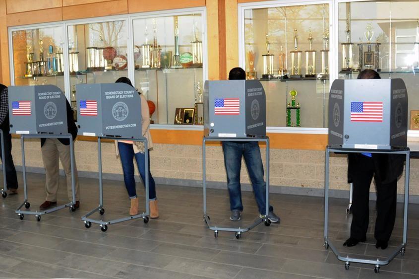 Voters at Schalmont High School in 2014
