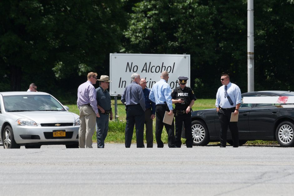 Police are gathered at the SPAC parking lot on Friday. A man was assault at the park Thursday.