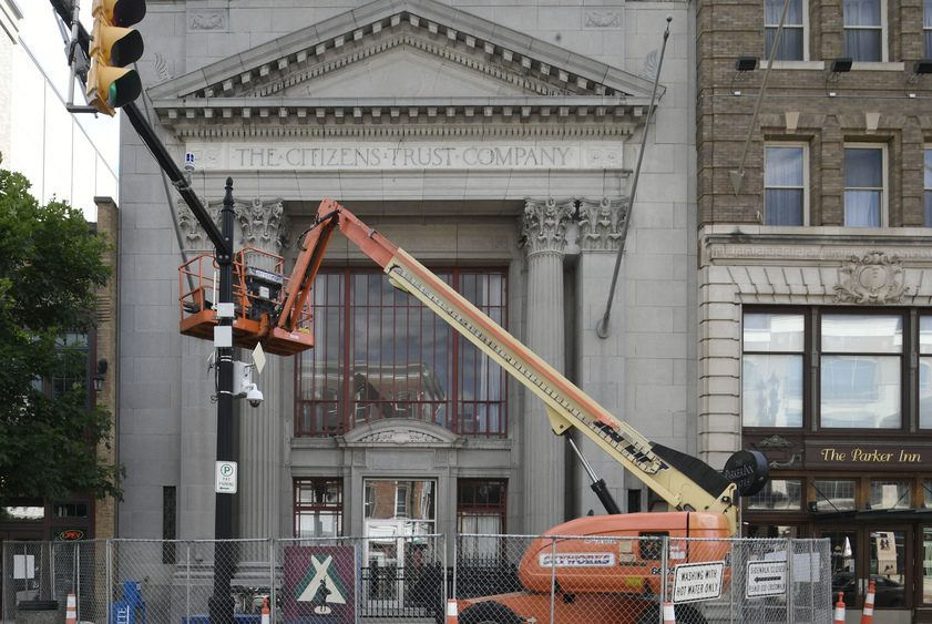 Key Hall undergoes facade renovations on State Street in Schenectady Friday.