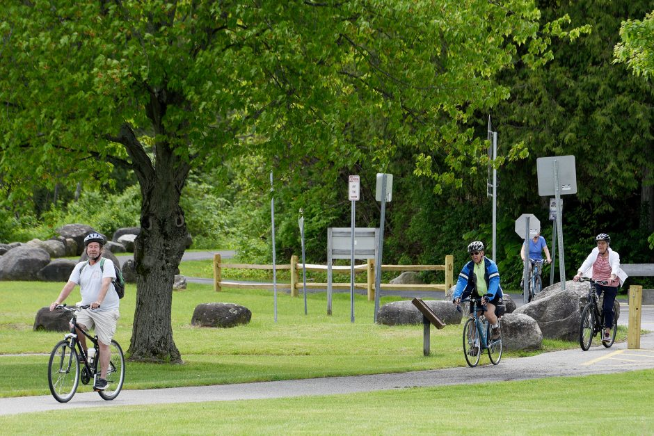 Bikers on the Warren County Bikeway off Beach Road, in Lake George, May 30, 2019.