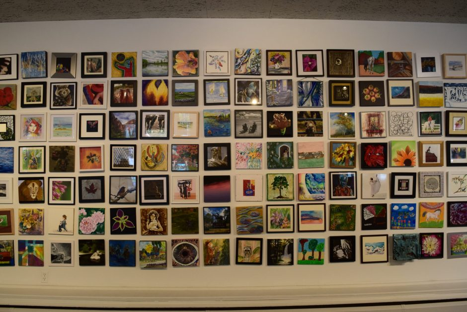 """Pieces in the """"10x10"""" exhibit at the Saratoga Arts Center"""