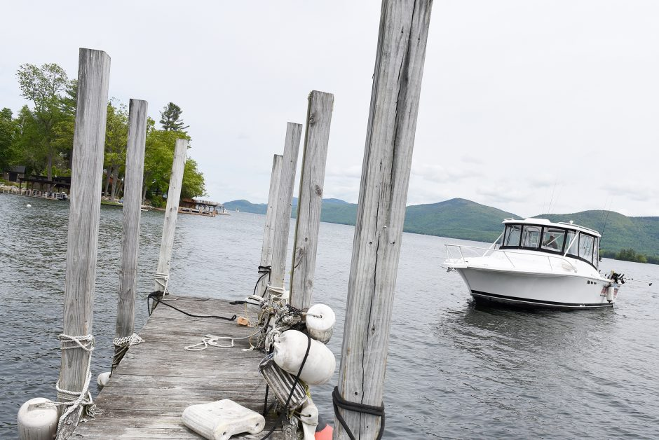 Justin Mahoney, owner of Lake George Island Adventures and Highline Charter Fishing, docks in Lake George, May 30, 2019.