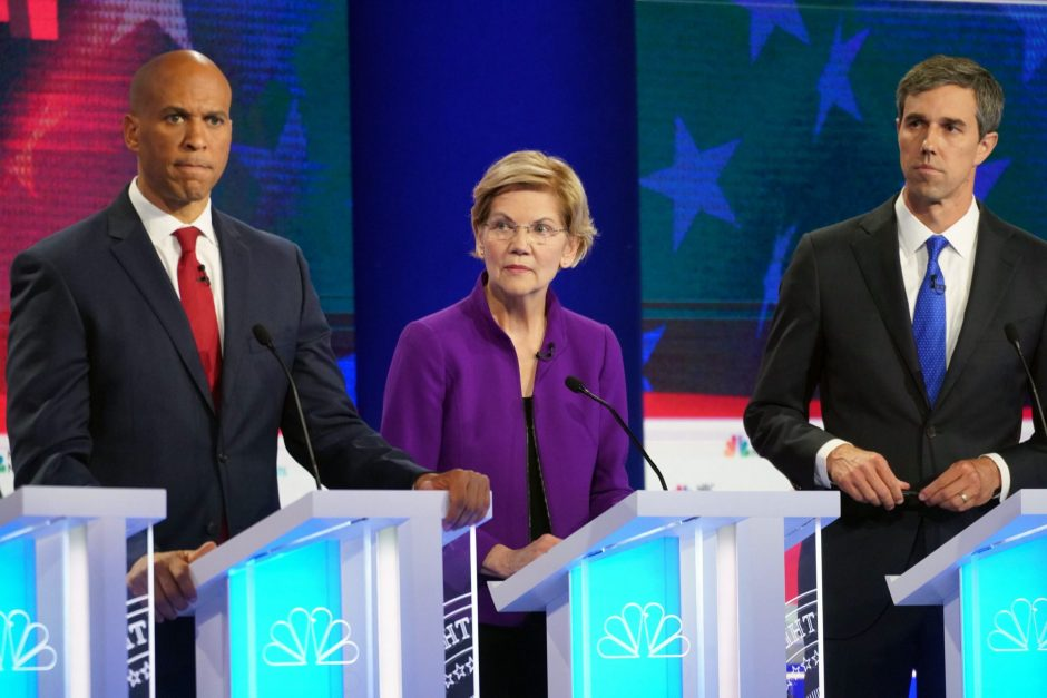 Cory Booker, Elizabeth Warren, and Beto O'Rourke during the first Democratic presidential debate in Miami, June 26, 2019.