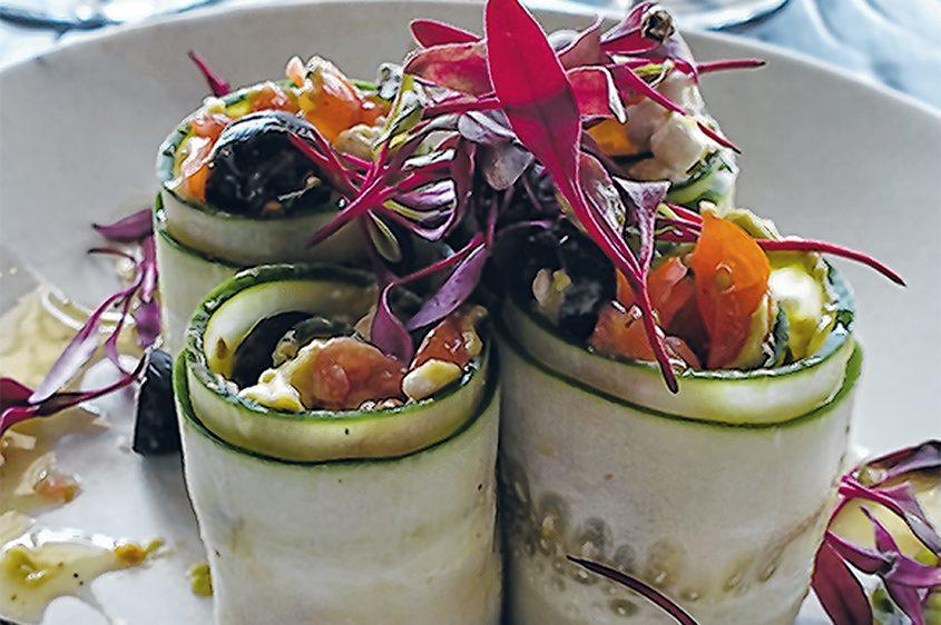 Cucumber rolls at The Shaker & Vine in Mohawk Harbor.