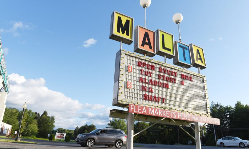 Malta Drive-Ins marquee sign on Route 9, as they celebrate 70 years of business in Malta on Sunday