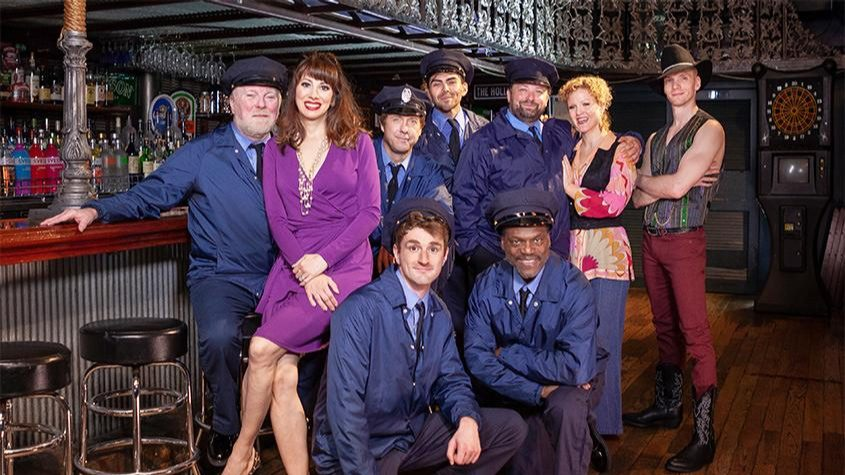 """Members of the cast in Capital Repertory Theatre's """"The Full Monty"""" pose for a photo. See more caption information below."""