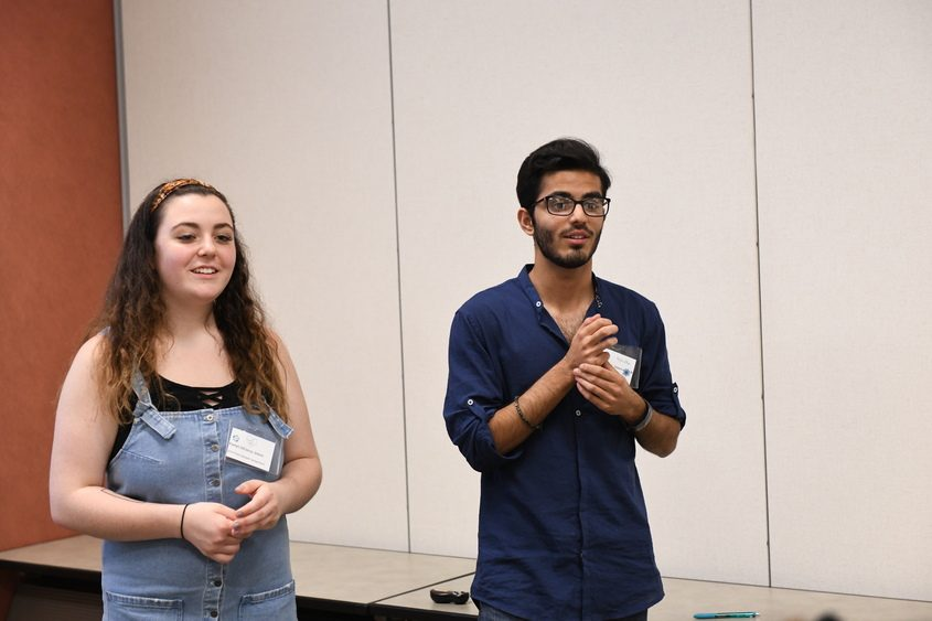 Schalmont graduate Kaelyn DiCocco, left, and incoming senior Hamza Noor are working as intern leaders at a conference.