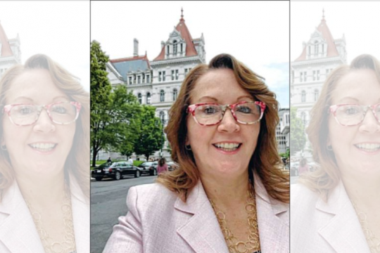 Niskayuna Town Board member Denise Murphy McGraw poses for a selfie in front of the state Capitol in Albany.